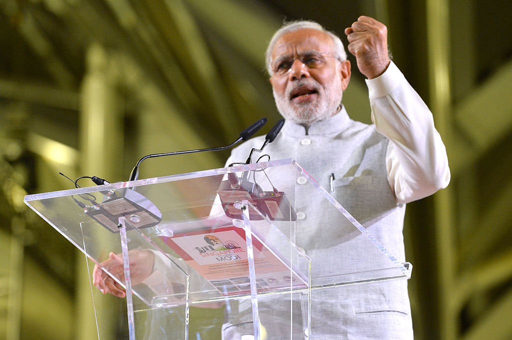The Prime Minister, Shri Narendra Modi addressing the gathering at the Indian Community Reception Event, at Singapore Expo, Singapore on November 24, 2015.
