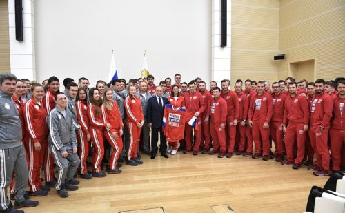 Vladimir Putin, the President of Russia, meets Russian athletes, 31 January 2018