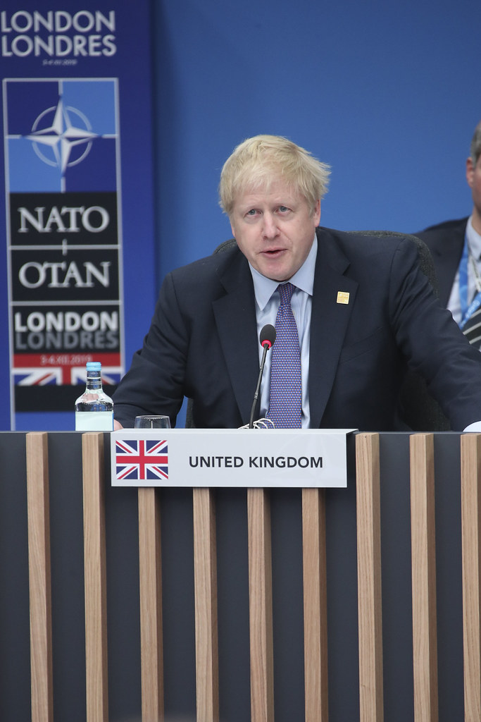 Prime Minister Boris Johnson speaks at the 2019 NATO Leaders meeting.