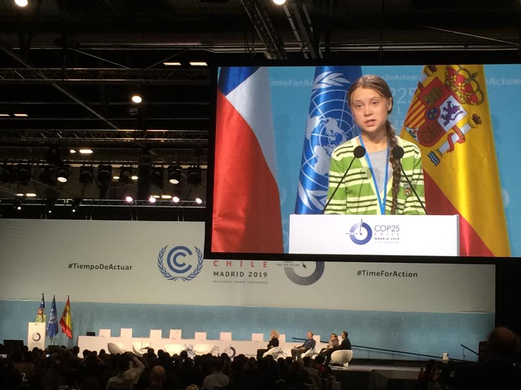Greta Thunberg speech and panel discussion on the morning of 11 December at COP25 in Madrid. People stopped around the conference to watch her speech.
