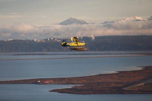 Harbour Air's ePlane in flight.