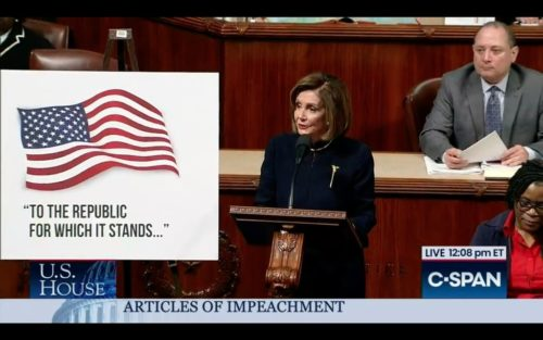 Nancy Pelosi speaks before the vote on impeaching President Trump.