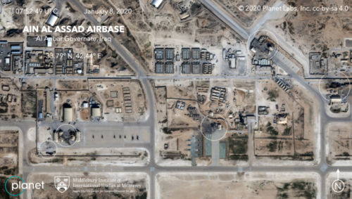 Satellite image, showing the damage to at least five structures at Ain al-Assad air base in Iraq in a series of precision missile strikes launched by Iran
