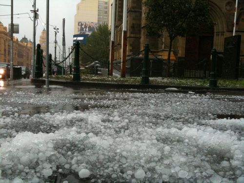 Australia has had to deal with lots of severe weather over the last week in addition to bushfires. The country has had flooding rains, dust storms, and hail. The hail above is in Melbourne, but the picture is from 2010.