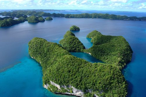 An aerial view of Palau's limestone islands, 2008/03/08