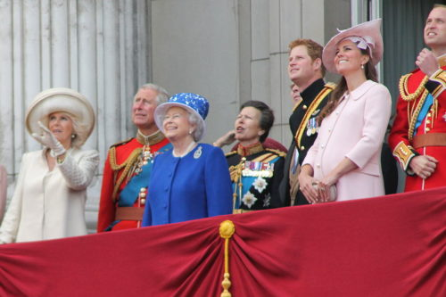 The royal family watch the royal fly past, Trooping the Colour June 2013