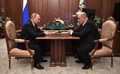Vladimir Putin with Mikhail Mishustin (2020-01-15)
