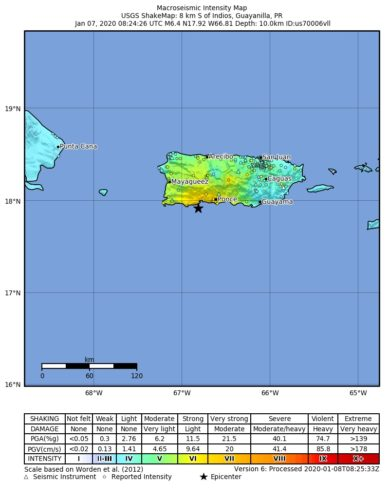 Shakemap from USGS for the magnitude 6.4, maximum intensity 6.809 earthquake with tsunami near en:Usgs Neic Shakemap (8km S of en:Indios, Puerto Rico), 10.0 km depth.