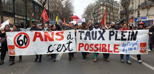 Protest in Paris over pension reform on December 28, 2019.