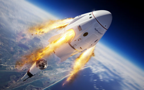 Illustration of the SpaceX Crew Dragon and Falcon 9 rocket during the company's uncrewed In-Flight Abort Test