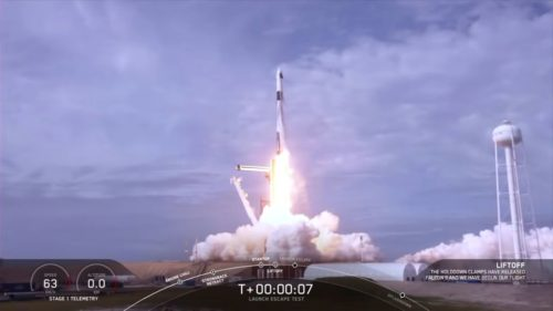 SpaceX's Falcon 9 rocket taking off for the In-Flight Abort Test