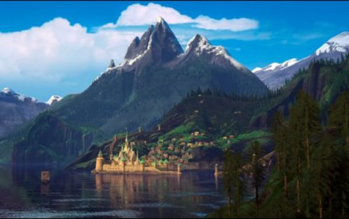 "Screenshot of the village of Arendelle from the trailer of Walt Disney's ""Frozen""."
