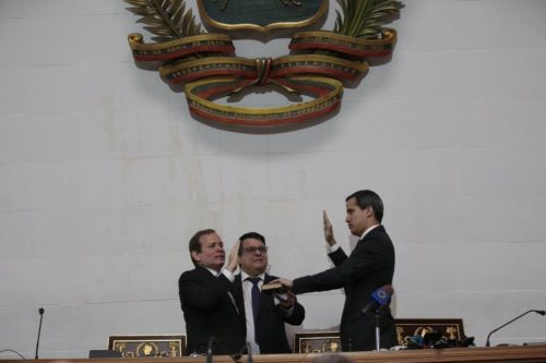 Juan Guaidó being sworn in as president of the National Assembly.
