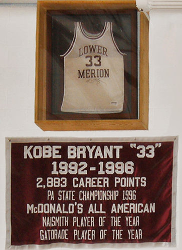 Kobe Bryant retired jersey banner at Lower Merion High School