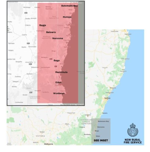 Map showing tourist leave zone in New South Wales.