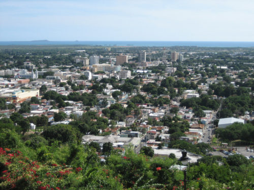 Partial view of the City of Ponce, looking SSW from Cerro El Vigía, Barrio Portugués Urbano, Ponce, Puerto Rico