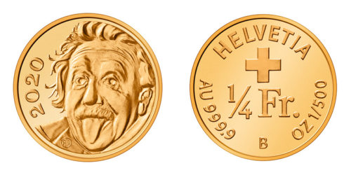 Switzerland announced this week that it had created the world's tiniest gold coin. The coin has a picture of Albert Einstein sticking his tongue out.