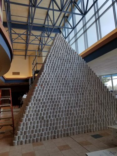 Toilet paper pyramid build by the members of the BlitzCreek 3770 Robotics team.