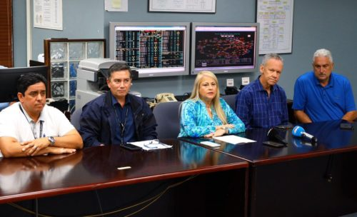 Wanda Vázquez is shown during a meeting about the recent earthquakes in Puerto Rico.
