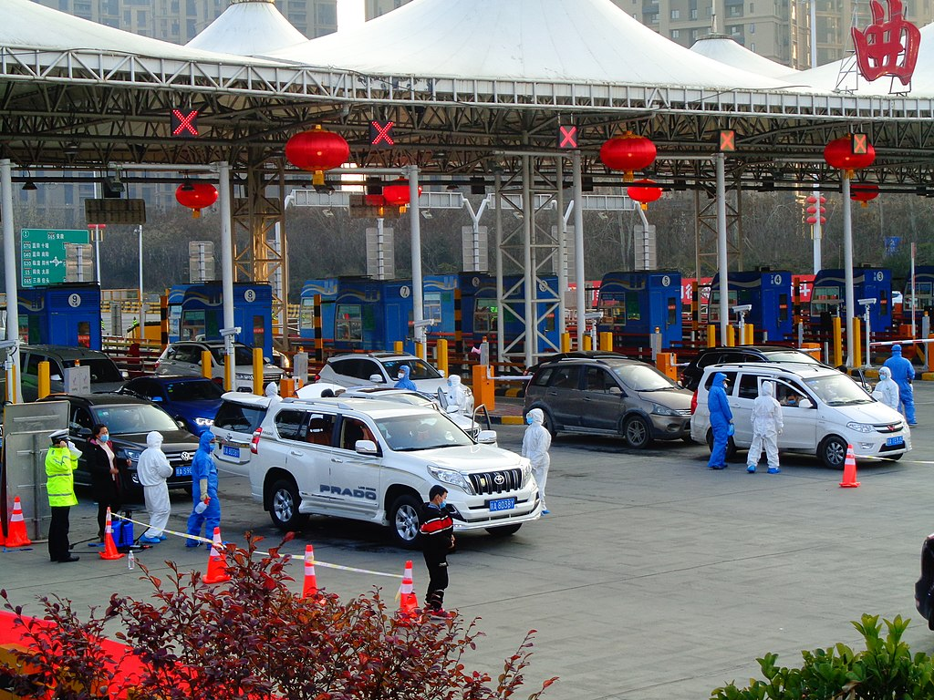 Epidemic prevention inspection at Qujiang toll station in Bota