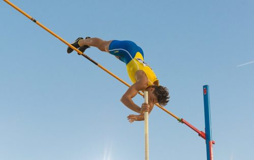 Armand Duplantis jumps 6.0 meters at Stockholm Stadium on August 24, 2019.