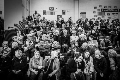 Des Moines 61 precinct - as people gathered for the 2020 Democratic caucus, held at Merrill Middle School, 2020-02-03