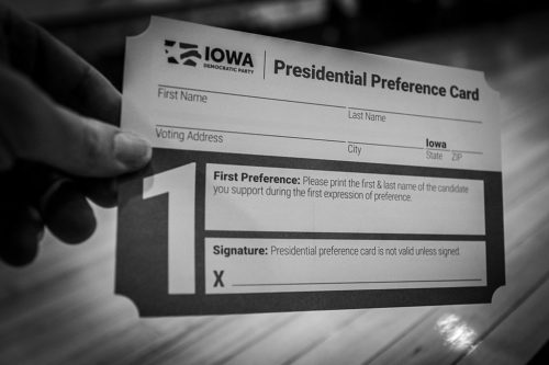 2020 Iowa Caucus Presidential Preference Card