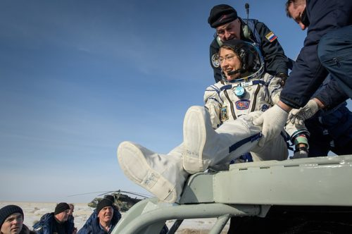 NASA astronaut Christina Koch is helped out of the Soyuz MS-13 spacecraft just minutes after she, Roscosmos cosmonaut Alexander Skvortsov, and ESA astronaut Luca Parmitano, landed in a remote area near the town of Zhezkazgan, Kazakhstan on Thursday, Feb. 6, 2020.