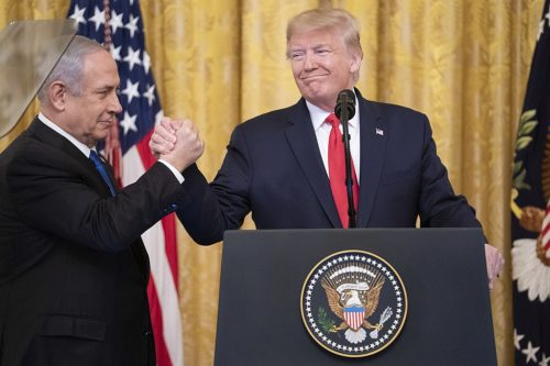 President Donald J. Trump and Israeli Prime Minister Benjamin Netanyahu unveil details of the Trump administration's Middle East Peace Plan on January 28, 2020.