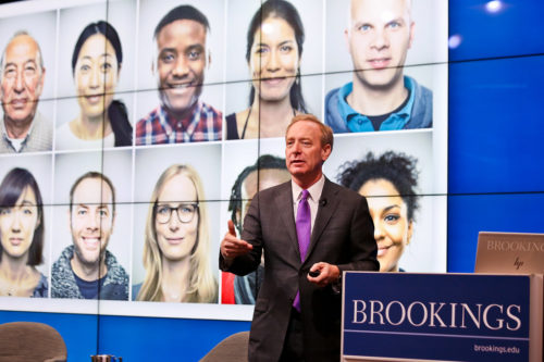 President of Microsoft, Brad Smith, gives a presentation on facial recognition