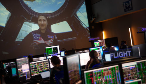 NASA astronaut Christina Koch is seen onboard the International Space Station from the Blue Flight Control Room, Tuesday, July 9, 2019 at NASA's Johnson Space Center in Houston, Texas. Photo Credit: (NASA/Bill Ingalls)