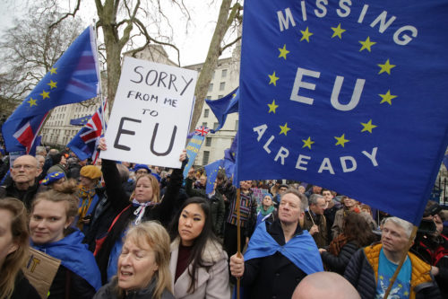 Brexit day protests, central London 31st January 2020.
