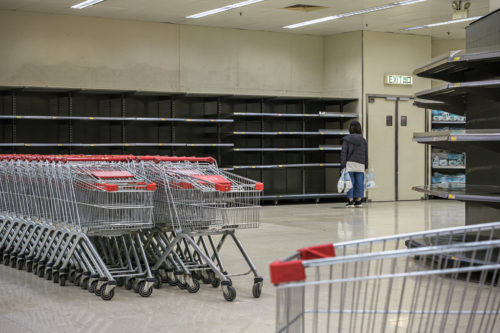 Empty supermarket shelves in Hong Kong.