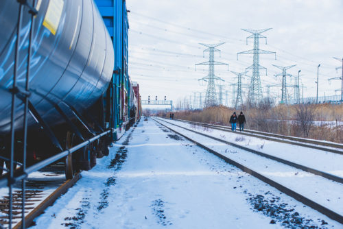 Land protectors walking down track to other sites - Wet'suwet'en Solidarity Event - Rail Yard near Pioneer Village Station Blockaded - Vaughan, Toronto, Ontario - February 15, 2020