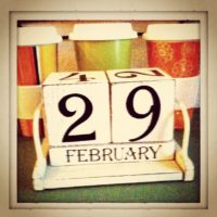Leap Year - block-style desk calendar showing February 29.