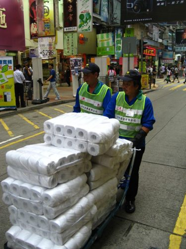 Toilet paper rolls being transported in Hong Kong.