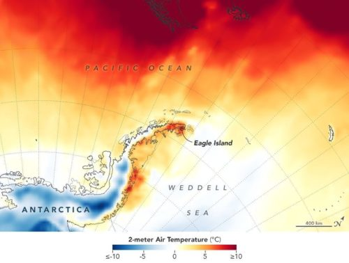 Map showing temperatures across the Antarctic Peninsula on February 9, 2020.