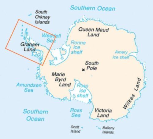Map of Antarctica indicating location of Antarctic Peninsula.