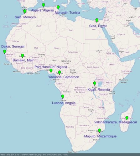 Map of Africa with location of BAL league teams marked.
