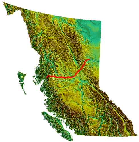 Map across British Columbia of Coastal-Gaslink pipeline. Box indicates disputed area.