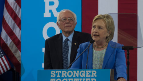 Bernie Sanders & Hillary Clinton in New Hampshire on July 12, 2016.