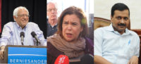 Bernie Sanders, Mary Lou McDonald, and Arvind Kejriwal.