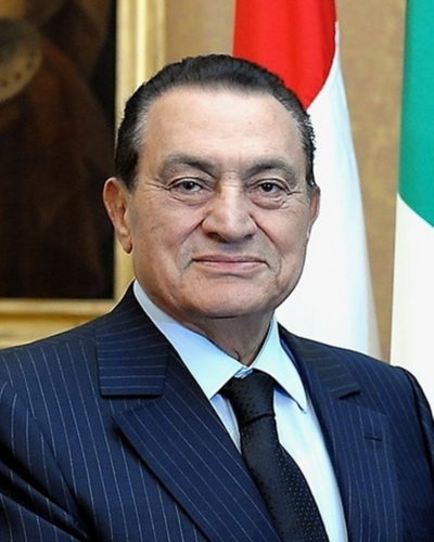 The Egyptian President Hosni Mubarak during a visit to Quirinale, Rome, 2009.