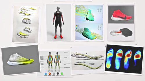 The images above show part of the design process for Nike Vaporfly shoes.