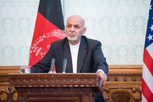 President Ashraf Ghani addresses the press at the Presidential Palace in Afghanistan on Sept. 27, 2017. (DOD photo by U.S. Air Force Staff Sgt. Jette Carr - 170927-D-GY869-0398)