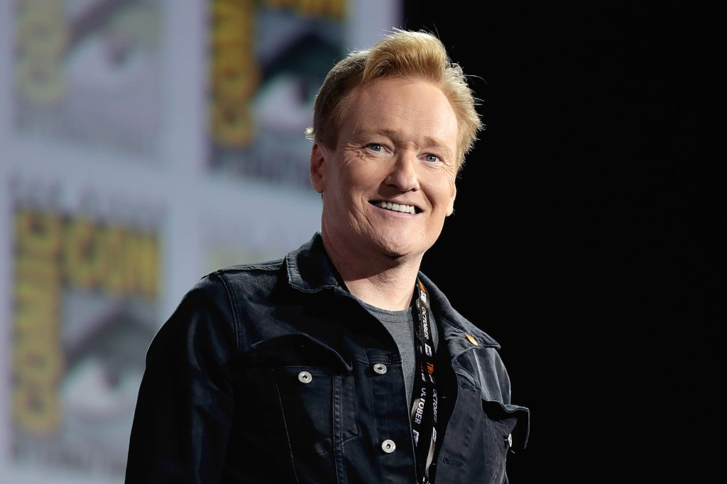"Conan O'Brien speaking at the 2019 San Diego Comic Con International, for ""Top Gun: Maverick"", at the San Diego Convention Center in San Diego, California."
