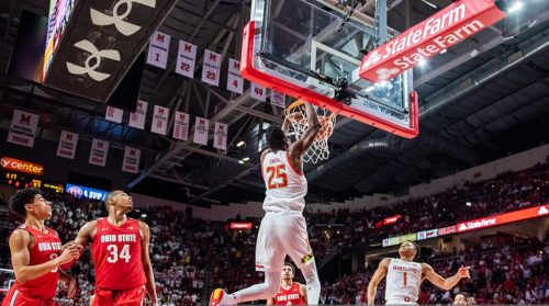Jalen Smith Dunks for Maryland vs. Ohio State. Both teams would have played in the NCAA tournament this year.
