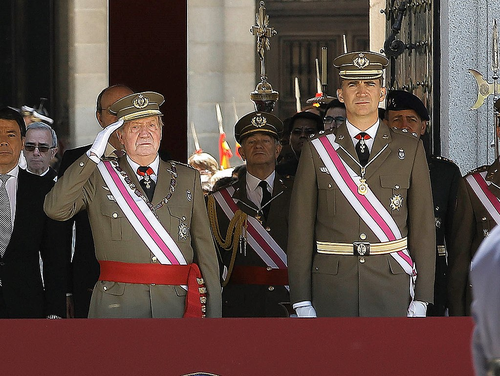 King Juan Carlos I and Felipe of Bourbon on 3 June 2014, shortly after the announcement of the intended abdication of the former.