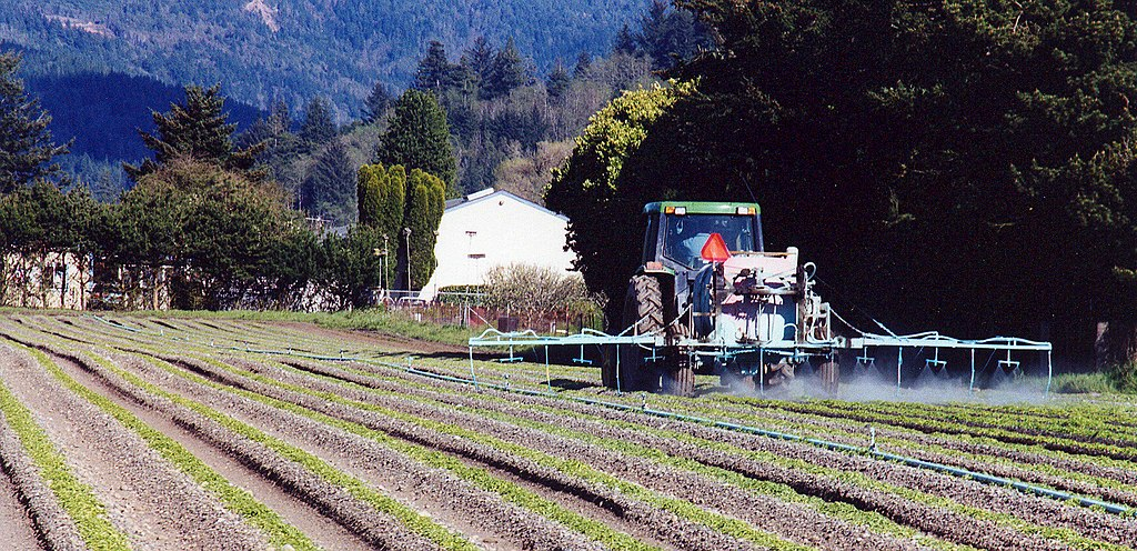 Spraying Easter lily fields in Smith River, California.