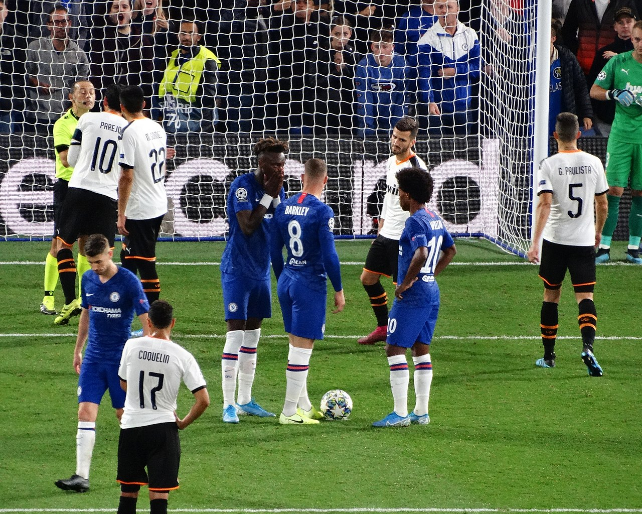 UEFA Champions League has been suspended. The picture shows Chelsea playing against Valencia in September.